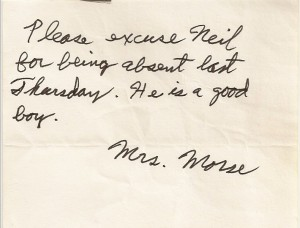 Neil Morse's note when he missed rehearsal - probably the only time