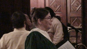 Betty waits for the choir to enter